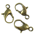 Iron Lobster Claw Clasp, antique bronze color plated, nickel, lead & cadmium free, 6.80x12x3mm, Hole:Approx 2mm, Approx 100PCs/Bag, Sold By Bag