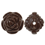 Clearance Acrylic Beads, Flower, solid color, deep coffee color, 20x17mm, Hole:Approx 2.5mm, Approx 170PCs/Bag, Sold By Bag