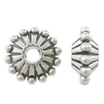Zinc Alloy Spacer Beads, antique silver color plated, large hole, nickel, lead & cadmium free, 11x11x5mm, Hole:Approx 3mm, Approx 833PCs/KG, Sold By KG