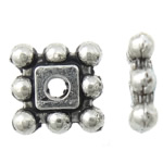Zinc Alloy Spacer Beads, Square, antique silver color plated, nickel, lead & cadmium free, 5x5x1.50mm, Hole:Approx 1mm, Approx 6666PCs/KG, Sold By KG