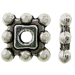 Zinc Alloy Spacer Beads, Square, antique silver color plated, nickel, lead & cadmium free, 7x7x1.50mm, Hole:Approx 1.5mm, Approx 3333PCs/KG, Sold By KG