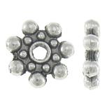 Koraliki dystansowe stopu cynku, Stop cynku, Kwiat, Platerowane kolorem starego srebra, bez zawartości niklu, ołowiu i kadmu, 8.50x8.50x2mm, otwór:około 2mm, około 2000komputery/KG, sprzedane przez KG