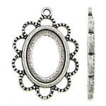Zinc Alloy Pendant Cabochon Setting, Flower, antique silver color plated, nickel, lead & cadmium free, 23x31.60x2mm, Hole:Approx 2mm, Inner Diameter:Approx 13x18mm, Approx 303PCs/KG, Sold By KG