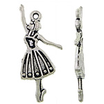 Character Shaped Zinc Alloy Pendants, Girl, antique silver color plated, nickel, lead & cadmium free, 16.50x29.50x4mm, Hole:Approx 2.5mm, Approx 384PCs/KG, Sold By KG