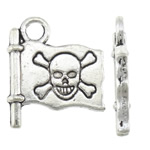 Zinc Alloy Pendants, Flag, antique silver color plated, with skull pattern, nickel, lead & cadmium free, 14x16.20x2.50mm, Hole:Approx 2.5mm, Approx 833PCs/KG, Sold By KG