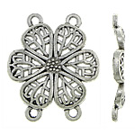 Flower Zinc Alloy Connector, antique silver color plated, 2/2 loop, nickel, lead & cadmium free, 24.70x29.20x2.40mm, Hole:Approx 2mm, Approx 285PCs/KG, Sold By KG