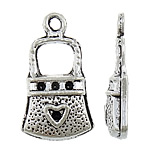 Zinc Alloy Pendant Rhinestone Setting Handbag antique silver color plated lead   cadmium free 12x21x4mm Hole:Approx 1.5mm Inner Diameter:Approx 1mm Approx 775PCs/KG