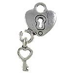 Sinkkiseos Lock riipukset, Lukko, antiikki hopea päällystetty, lyijy ja sen kadmium vapaa, 12x27x2mm, Reikä:N. 3mm, 20PC/laukku, Myymät laukku
