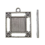 Zinc Alloy Pendant Cabochon Setting, Square, antique silver color plated, nickel, lead & cadmium free, 23x27x2mm, Hole:Approx 2.5mm, Approx 275PCs/KG, Sold By KG