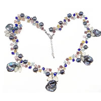 Crystal Freshwater Pearl Necklace, with Crystal, 14x9mm, 15-20mm, Sold Per Approx 20 Inch Strand