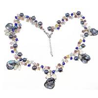 Kryształowy naszyjnik z perłami słodkowodnymi, Perła naturalna słodkowodna, ze Kryształ, 14x9mm, 15-20mm, sprzedawane na około 20 cal Strand