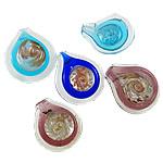 Ciondoli in vetro lavorato alla moda, Lacrima, fatto a mano, lamina di oro, colori misti, 38.5x43.5x25mm, 45x51x24mm,190x250x15mm, Foro:Appross. 7-10mm, 12PC/scatola, Venduto da scatola
