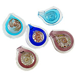 Mode Lampwork Anhänger, Tropfen, handgemacht, Goldfolie, gemischte Farben, 38.5x43.5x25mm, 45x51x24mm,190x250x15mm, Bohrung:ca. 7-10mm, 12PCs/Box, verkauft von Box