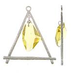 Zinklegering Hangers, Zinc Alloy, met Kristal, Driehoek, platinum plated, nikkel, lood en cadmium vrij, 67x78x10mm, Gat:Ca 4mm, Verkocht door PC