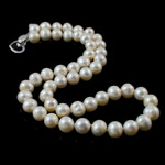 Natural Freshwater Pearl Necklace, brass clasp, Round, white, 8-9mm, Sold Per 16.5 Inch Strand