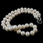 Natural Freshwater Pearl Necklace, brass clasp, Round, white, 9-10mm, Sold Per 16.5 Inch Strand