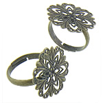 Brass Filigree Ring Base antique bronze color plated nickel lead   cadmium free 21x21mm Inner Diameter:Approx 17.4mm US Ring Size:6 200PCs/Bag