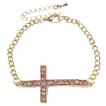 Zinc Alloy Bracelet, with Iron, Cross, gold color plated, with rhinestone, nickel, lead & cadmium free, 21x43x7mm, Sold Per Approx 7.5 Inch Strand