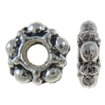 Zinc Alloy Spacer Beads, Flower, antique silver color plated, nickel, lead & cadmium free, 5.50x5.50x2mm, Hole:Approx 2mm, Approx 6660PCs/KG, Sold By KG