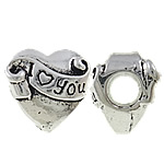 Zinc Alloy European Beads, Heart, antique silver color plated, without troll & large hole, nickel, lead & cadmium free, 12x12x9mm, Hole:Approx 4mm, 10PCs/Bag, Sold by Bag