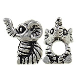 Zinc Alloy European Beads, Elephant, antique silver color plated, without troll & large hole, nickel, lead & cadmium free, 13x14x11mm, Hole:Approx 4.5mm, 10PCs/Bag, Sold by Bag