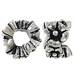 Zinc Alloy European Beads, Flower, antique silver color plated, without troll & large hole, nickel, lead & cadmium free, 11x8mm, Hole:Approx 4.5mm, 10PCs/Bag, Sold by Bag