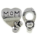 Zinc Alloy European Beads, Heart, antique silver color plated, without troll & large hole, nickel, lead & cadmium free, 11x14x7mm, Hole:Approx 4mm, 10PCs/Bag, Sold by Bag