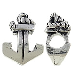 Zinc Alloy European Beads, Anchor, antique silver color plated, without troll & large hole, nickel, lead & cadmium free, 11x16x8mm, Hole:Approx 4mm, 10PCs/Bag, Sold by Bag