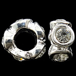 Zinc Alloy European Beads, Donut, silver color plated, without troll & large hole, nickel, lead & cadmium free, 11x5mm, Hole:Approx 5mm, 10PCs/Bag, Sold by Bag