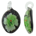 Inner Flower Lampwork Pendants, Oval, handmade, gold sand, 27x46.50x11mm, Hole:Approx 5mm, 10PCs/Bag, Sold By Bag