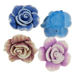 Koraliki z gliny polimerowej, Glina polimerowa, Kwiat, mieszane kolory, 23-27mm, otwór:około 2mm, około 100komputery/torba, sprzedane przez torba