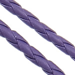 Leather Cord PU woven purple 4mm Length:100 m