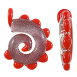 Silver Foil Lampwork Pendants, Twist, handmade, red, 48x50x11mm, Hole:Approx 8x9mm, 10PCs/Bag, Sold By Bag