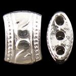 Poprzeczka ze stopów cynku, Stop cynku, Bryłki, Platerowane w kolorze srebra, 3 żyłki, bez zawartości niklu, ołowiu i kadmu, 11x8x5.50mm, otwór:około 1.5mm, około 710komputery/KG, sprzedane przez KG