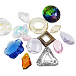 Crystal Pendants, mixed, 12-30mm, Hole:Approx 1.5-17mm, 100PCs/Bag, Sold By Bag