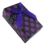 Kartonowe pudełko na zestaw biżuterii, Tektura, ze Satynowa wstążka, Prostokąt, wzór w okrągłe plamki, fioletowy, 50x79x26mm, 48komputery/torba, sprzedane przez torba