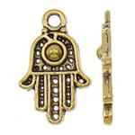 Zinklegering Hamsa Hangers, Zinc Alloy, antiek goud plated, Joodse Jewelry & Islam sieraden, nikkel, lood en cadmium vrij, 13x21x2.50mm, Gat:Ca 2.5mm, Ca 1000pC's/KG, Verkocht door KG