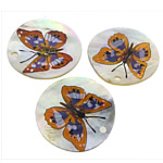 Shell Pendants, Natural Seashell, Flat Round, brushwork, white, 35x35x2mm, Hole:Approx 3mm, 20PCs/Lot, Sold By Lot