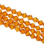 Symetryczne kryształowe koraliki, Kryształ, Podwójny stożek, fasetowany, topaz, 8x8mm, otwór:około 1.5mm, długość:12.5 cal, 10nici/torba, sprzedane przez torba