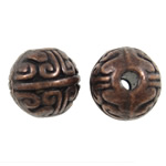 Zinc Alloy Jewelry Beads Round antique copper color plated nickel lead   cadmium free 8mm Hole:Approx 1.5mm 830PCs/KG