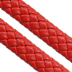 Leather Cord PU woven red 10.50x4.50mm 100m/Lot