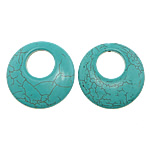 Turquoise Pendant, Donut, turquoise blue, 47x47x6.50mm, Hole:Approx 10.5mm, Approx 57PCs/KG, Sold By KG