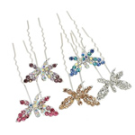 Hair Pins, Butterfly, mixed, platinum color plated, with rhinestone ornament, nickel, lead &amp; cadmium free, 24x65.50x10mm, 48PCs/Bag, Sold by Bag