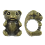 Zinc Alloy European Beads, Bear, antique bronze color plated, without troll, nickel, lead & cadmium free, 7.50x10x7.50mm, Hole:Approx 4.5mm, approx 765PCs/KG, Sold by KG