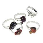 кольцо с эмалью настроения , Латунь, с Железо, Платиновое покрытие платиновым цвет, настроение эмаль, не содержит никель, свинец, 10-19mm, размер:6.5, 100ПК/Box, продается Box
