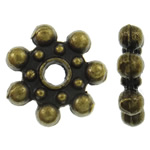 Zinc Alloy Jewelry Spacer, Flower, antique bronze color plated, nickel, lead & cadmium free, 8.5x2mm, Hole:Approx 1.5mm, approx 3030PCs/KG, Sold by KG
