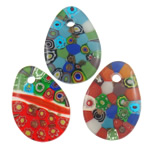 Millefiori Slice Lampwork Pendants, Teardrop, handmade, with millefiori slice, mixed colors, 35x48x8mm, Hole:Approx 6mm, 50PCs/Bag, Sold By Bag
