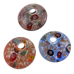 Millefiori Slice Lampwork Pendants, Flat Round, handmade, with millefiori slice, mixed colors, 43x10mm, Hole:Approx 9mm, 12PCs/Box, Sold By Box