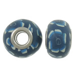 European Polymer Clay Jewelry Beads , Rondelle, brass double core without troll &amp; large hole, blue, 15x10.5mm, Hole:Approx 5mm, 100PCs/Bag, Sold by Bag