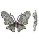 Złącze ze stopu cynku zwierząt, Stop cynku, Motyl, Platerowane kolorem starego srebra, z kamieniem, bez zawartości ołowiu i kadmu, 92x73x9mm, otwór:około 6.5x12mm, sprzedane przez PC